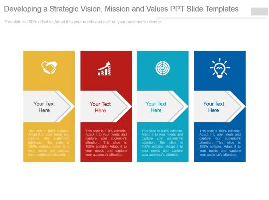 developing a strategic vision mission and values ppt slide templates