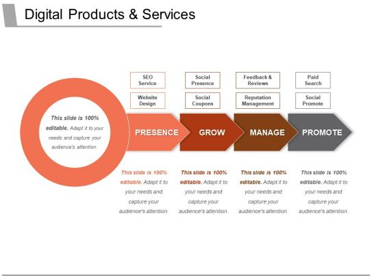 digital products and services ppt slide examples