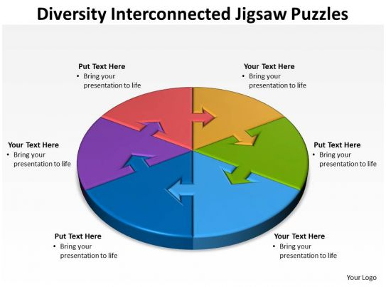 diversity policy template - 55526719 style division pie jigsaw 6 piece powerpoint