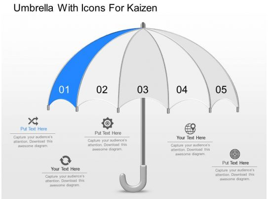 Dn Umbrella With Icons For Kaizen Powerpoint Template Presentation