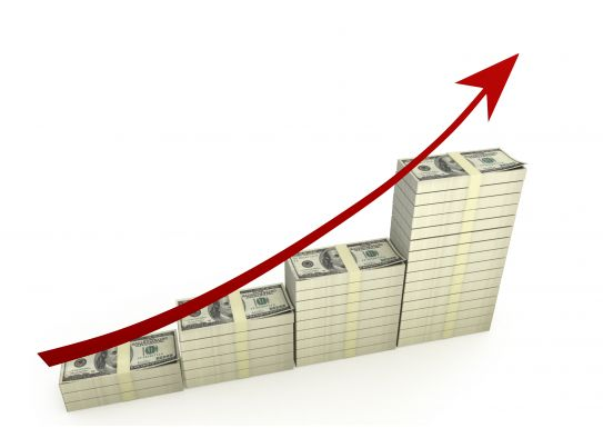 Dollar Bar Graph With Red Growth Arrow Stock Photo