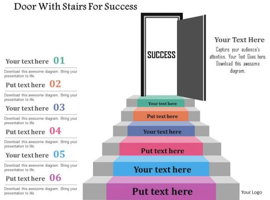 door with stairs for success flat powerpoint design
