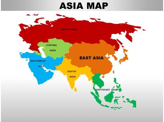 Powerpoint Continent Maps Map Presentation Slides – Map of Asian Continent