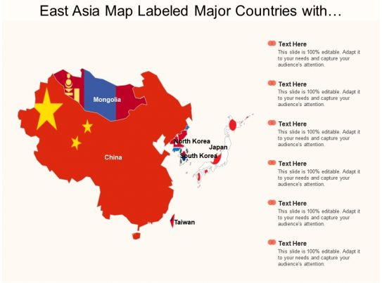East Asia Map Labeled Major Countries With Mongolia And Taiwan