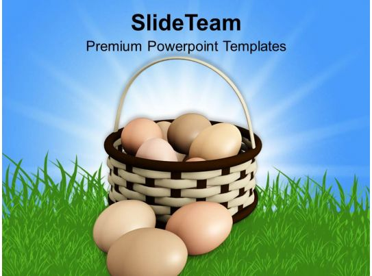 Easter Bunny Eggs Basket With Bow Powerpoint Templates Ppt