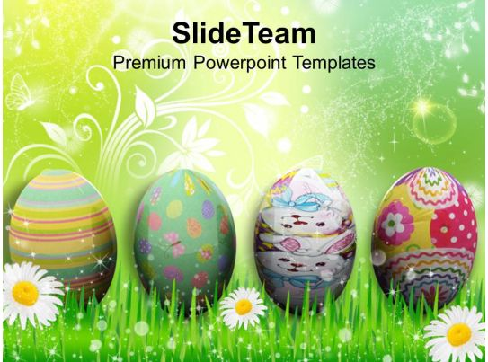 Easter Holiday Background With Eggs In Grass Powerpoint