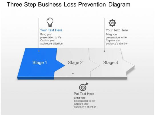ef three step business loss prevention diagram powerpoint