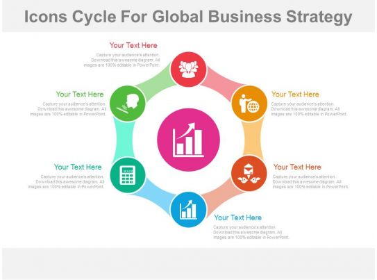 El six staged icons cycle for global business strategy for Global design company