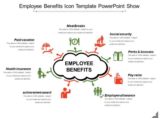 employee benefits icon template powerpoint show