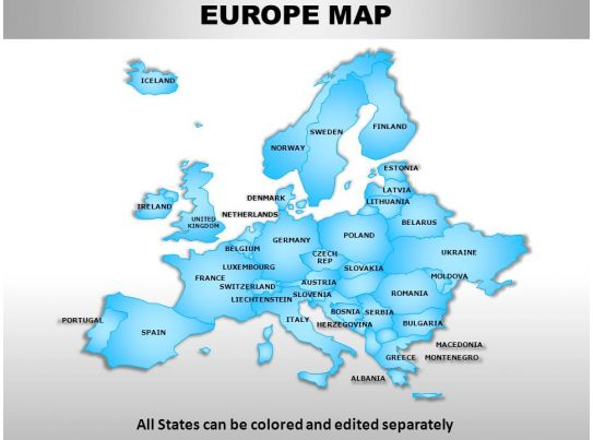 Europe Continents Powerpoint Maps Graphics Presentation