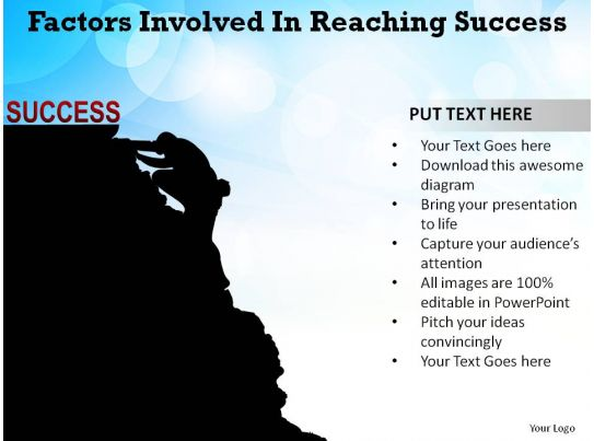 factors involved in reaching success man climbing mountain
