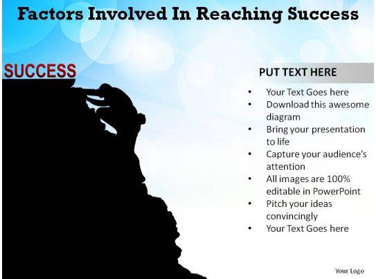 Factors Involved In Reaching Success Man Climbing Mountain
