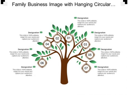 Family Business Image With Hanging Circular Frames PowerPoint