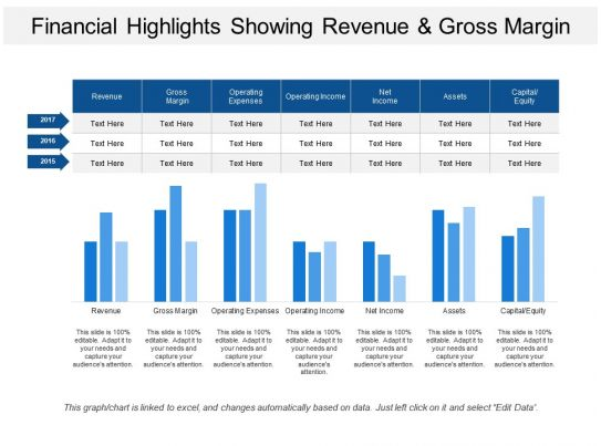 financial highlights showing revenue and gross margin