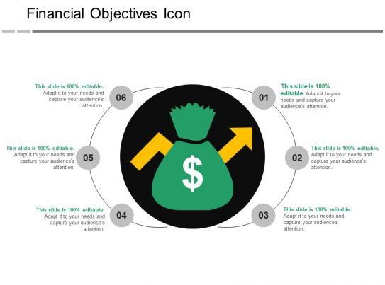 financial objectives icon ppt infographic template