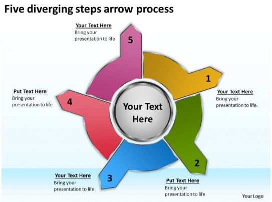 five diverging steps arrow process cycle flow chart powerpoint rh slideteam net carbon cycle diagram step by step Step by Step Template