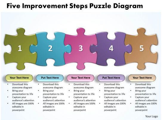 Five Improvement Steps Puzzle Diagarm Powerpoint Templates Ppt Presentation Slides 0812 on Jigsaw Puzzle Templates