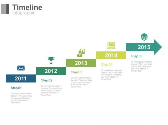 five staged arrow stair timeline with years powerpoint