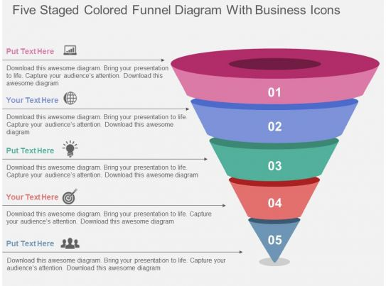 five staged colored funnel diagram with business icons. Black Bedroom Furniture Sets. Home Design Ideas