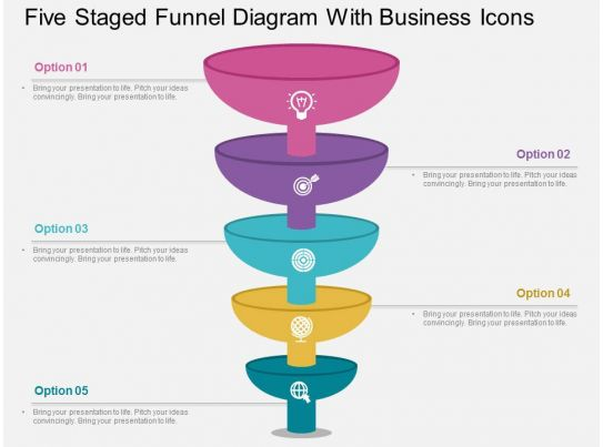 five staged funnel diagram with business icons flat. Black Bedroom Furniture Sets. Home Design Ideas