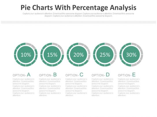 Five Staged Pie Charts With Percentage Analysis Powerpoint