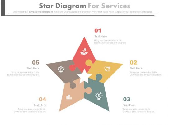 Five Staged Star Diagram For Our Services Flat Powerpoint