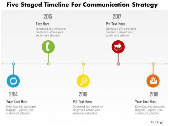Five Staged Timeline For Communication Strategy Flat Powerpoint