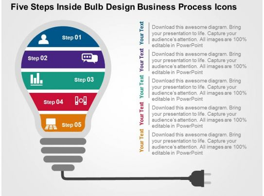 five steps inside bulb design business process icons flat powerpoint
