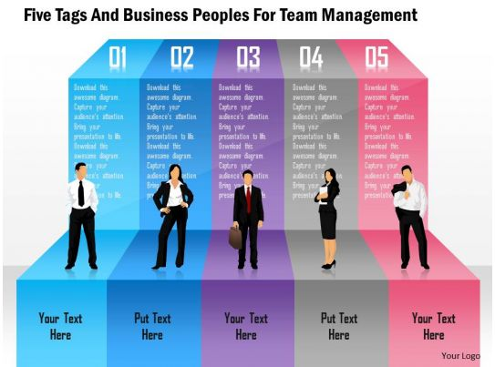 five tags and business peoples for team management