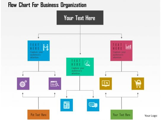 Flow Chart For Business Organization Flat Powerpoint