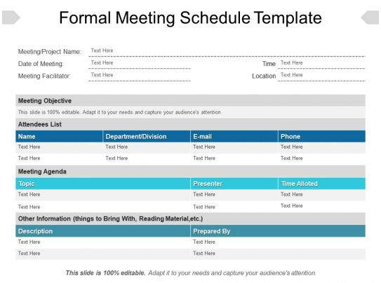 Formal Meeting Schedule Template Powerpoint Ideas Templates