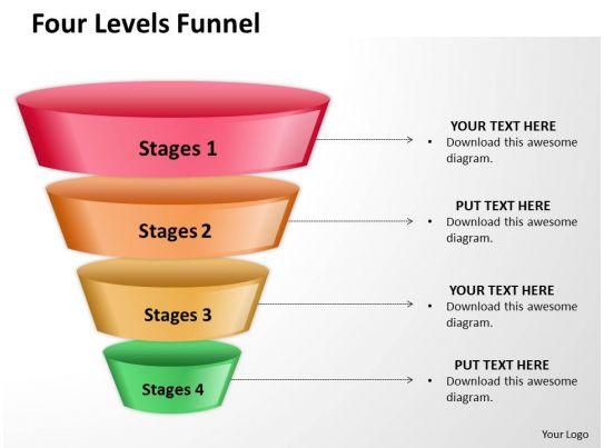 four levels of filter sales funnel split separated ppt slides presentation diagrams templates. Black Bedroom Furniture Sets. Home Design Ideas