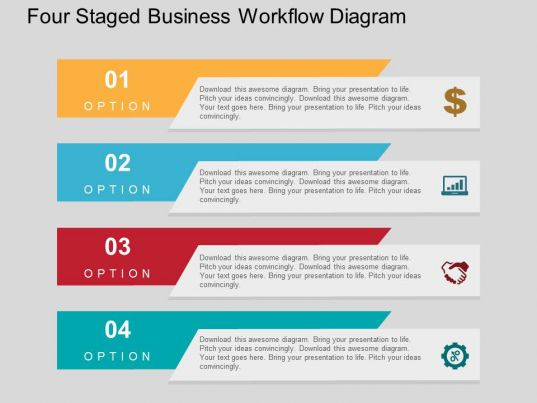 powerpoint diagrams  presentations diagrams   powerpoint    four staged business workflow diagram flat powerpoint design slide