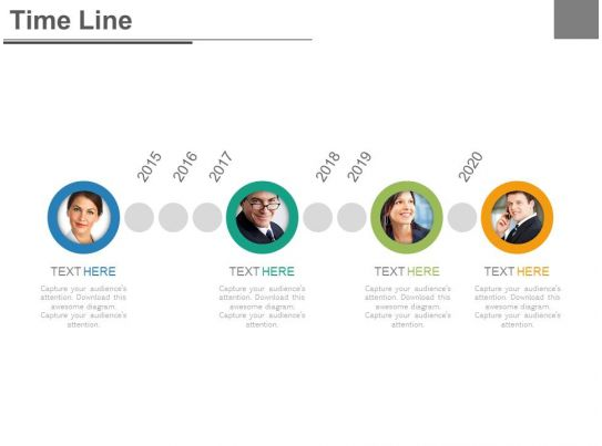 Four Staged Timeline For Business Employee Profile Powerpoint