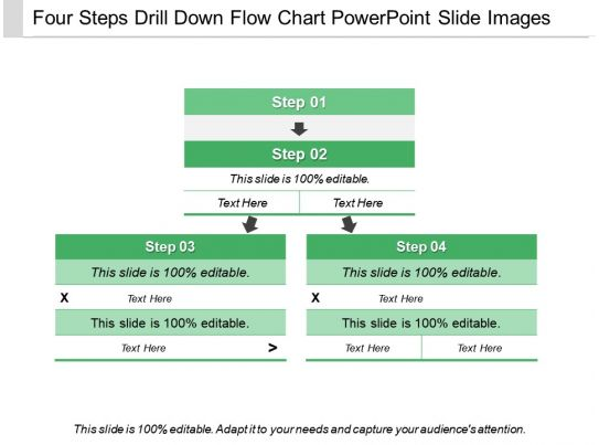 four steps drill down flow chart powerpoint slide images