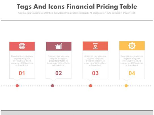 Four tags and icons financial pricing table powerpoint for Tag table html