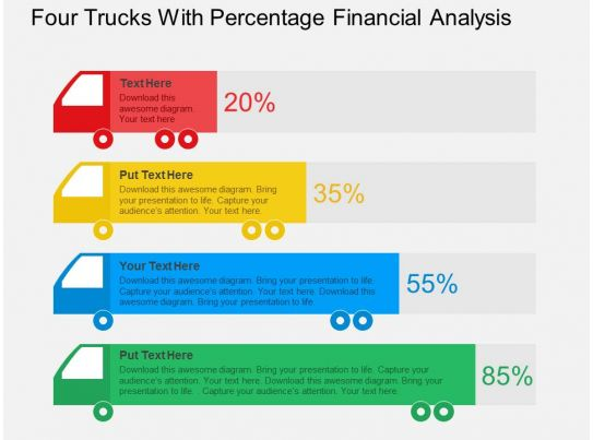 four trucks with percentage financial analysis flat
