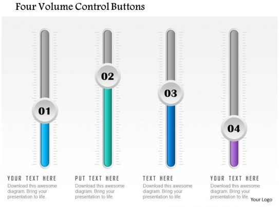 Volume Control Button : Four volume control buttons powerpoint template