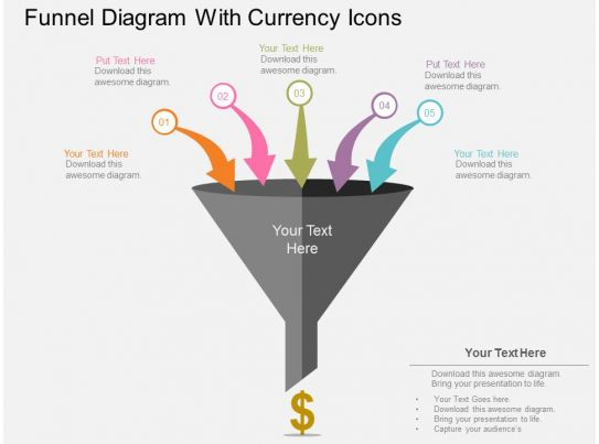 funnel diagram with currency icons flat powerpoint design. Black Bedroom Furniture Sets. Home Design Ideas