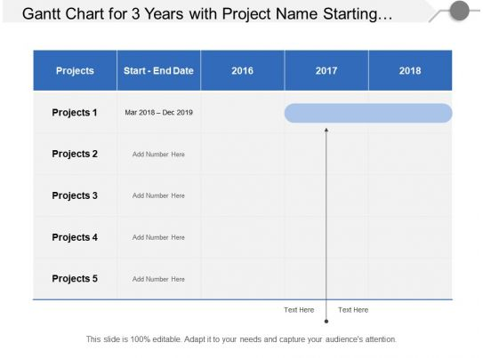 Gantt Chart For 3 Years With Project Name Starting And Ending Dates