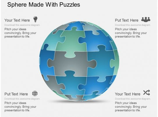 sphere net template - gb sphere made with puzzles powerpoint template