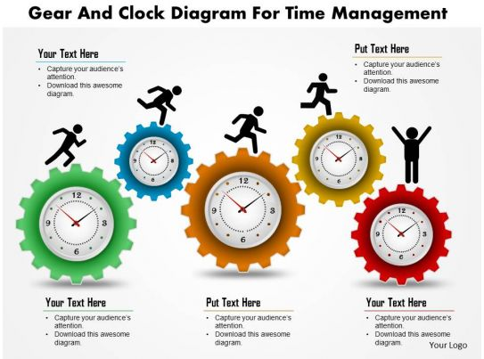 Gear And Clock Diagram For Time Management Powerpoint Template