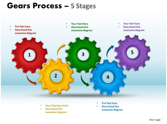 Gears Process 5 Stages Style 1 Powerpoint Slides And Ppt