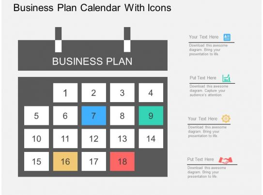 Calendar Design Powerpoint : Gg business plan calendar with icons flat powerpoint