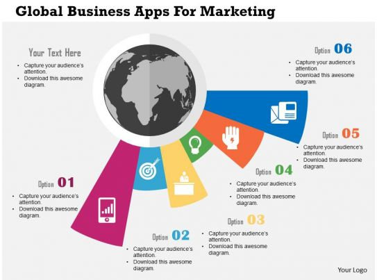 Global business apps for marketing flat powerpoint design for Global design company