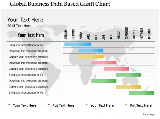 Global business data based gantt chart flat powerpoint design for Global design firm