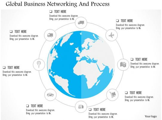 Global business networking and process flat powerpoint design for Global design firm