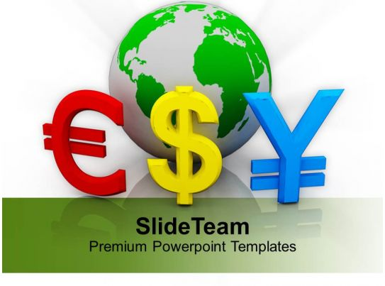 Globe With Euro Dollar Currency Symbols Finance Powerpoint Templates