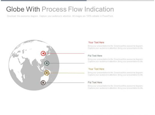 globe with process flow indication powerpoint slides