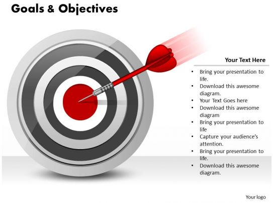 Goals And Objectives Powerpoint Template Slide on Presenting A Thesis Statement